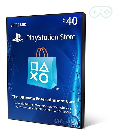 Psn Card $40 ($20+$20) Dolares Cartão Play Network Store Usa