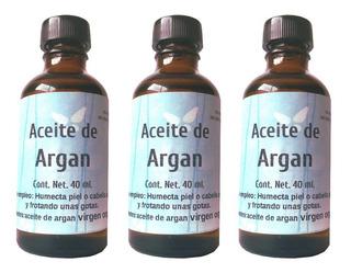 Aceite De Argan 3 Frascos De 40 Ml Cada Uno