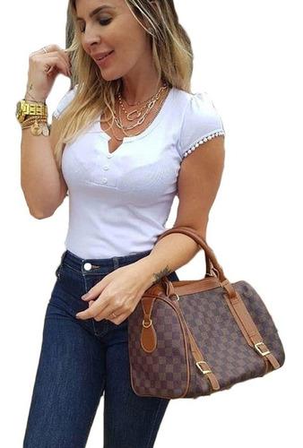 Blusinha Camisa Kit C/ 3 T-shirt Malha Canelada Moda Bloguei