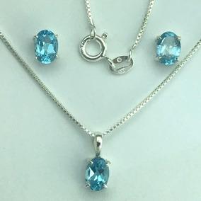 Conjunto Topazio Azul Natural 5x7 Mm Prata 925 Ml (60-1)