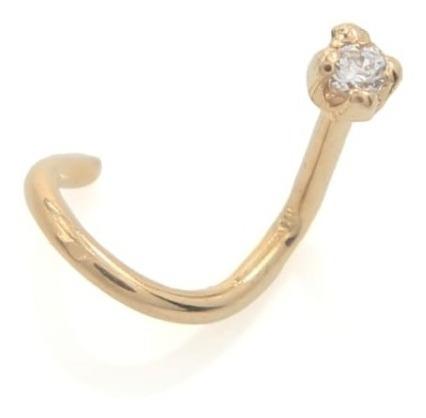 Piercing De Nariz Ouro 18k Com Pedra De Zirconea 10001-1
