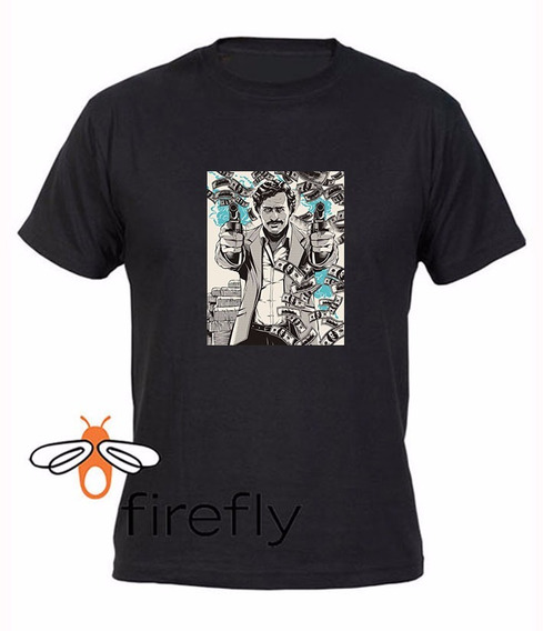 Remera Pablo Escobar Hombre Negra Coleccion 2 Firefly