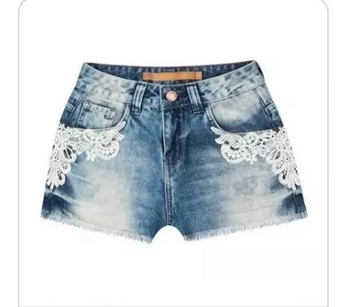 Short Jeans Con Renda De Alta Qualidade Com Licra