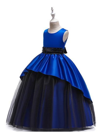 Vestido Niña Tul/ Fiesta/ Azul Rey - Negro