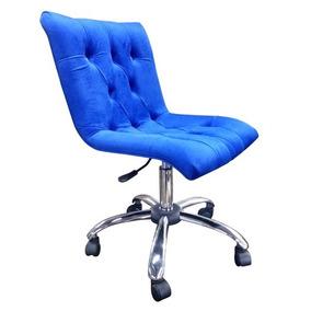 Cadeira Capitonê Azul Bic Base Regulagem De Altura Cromada