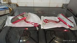 Espejo De Aluminio Rectangular Para Moto Rojo