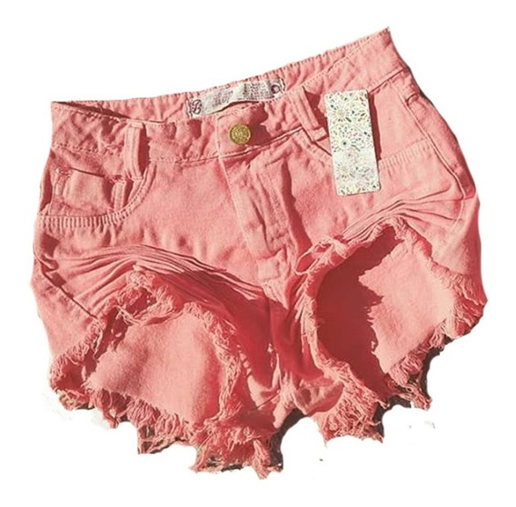Shorts Jeans Salmão Cos Alto Moda Desfiada Hot Pants St012