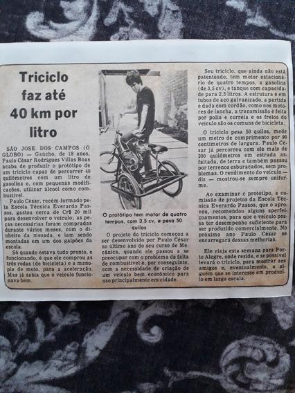 Recorte Matéria Villas Boas Protótipo Bicicleta Triciclo