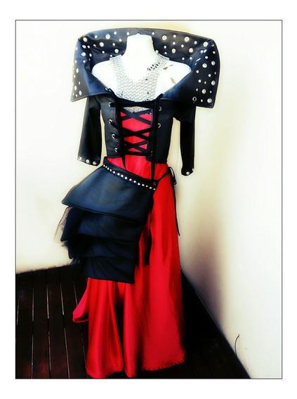 Vestido Goth Rojo Y Negro Con Corse Y Chaqueta