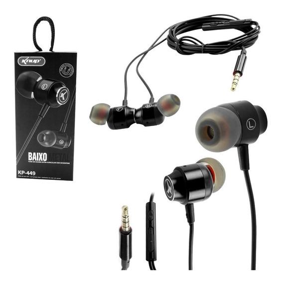 Fone De Ouvido Com Microfone P2 Knup Baixo Metal Kp-449