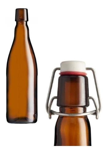 6 Garrafa Para Cerveja Com Tampa Flip Top Belga 550ml