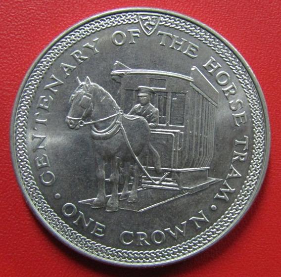 Isla De Man Moneda 1 Crown 1976 Unc 100 Aniv Carreta Caballo
