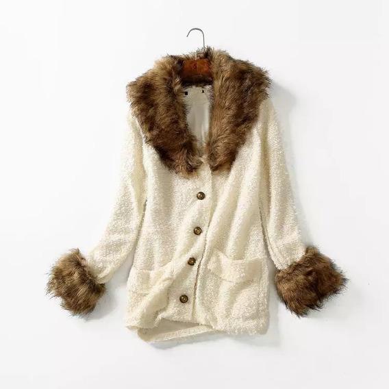 Blusa Feminia Tricô Casaco Pelo Peludo Inverno Frio Europea