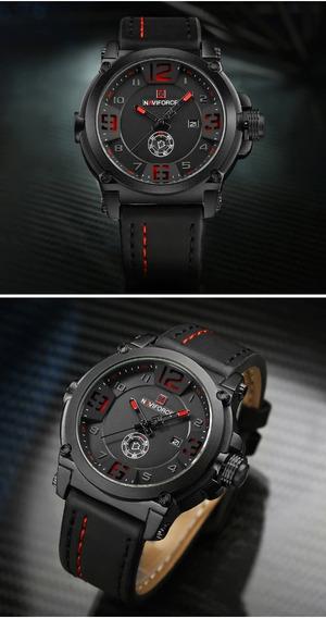 Relógio Masculino Esportivo Naviforce Pulseira Couro Nf9099