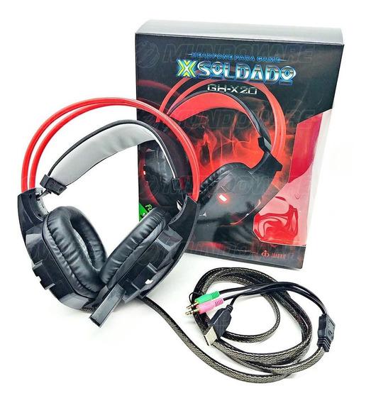 Headphone Gamer Microfone Iluminação Led Isolamento Acústico