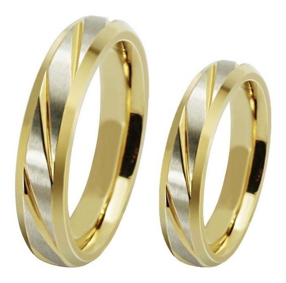 Par Anéis Alianças Titânio 4 E 6mm Banhado Ouro 18k