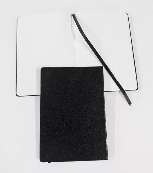 2 Cadernetas Couro Sintético Preta Sem Pauta 14x21 Grande