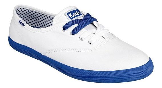 Tênis Feminino Keds Champion Canvas Branco / Blue - Kd758921