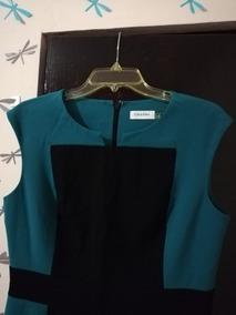 Vestido Calvin Klein - Nuevo Sin Etiqueta - Azul Y Negro