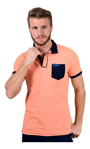 Camisa Polo Porto Blanco Algodon Hombre Salmon Ple-443