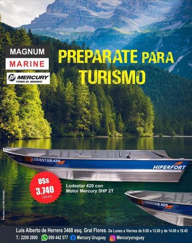 Bote Aluminio Lodestar 420 Con Motor Mercury 5 Hp 2 Tiempos