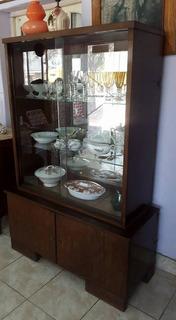 Cristalero Fondo C/espejo Biscelado Estantes De Vidrio 5mm