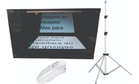 Teleprompter C/ Tripé + Controle Remoto - Caixa Preta