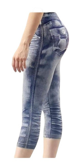 Calzas Estampadas Con Apariencia De Jeans