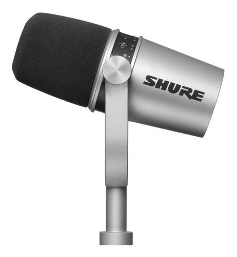 Micrófono Shure MV7 dinámico cardioide y unidireccional plateado