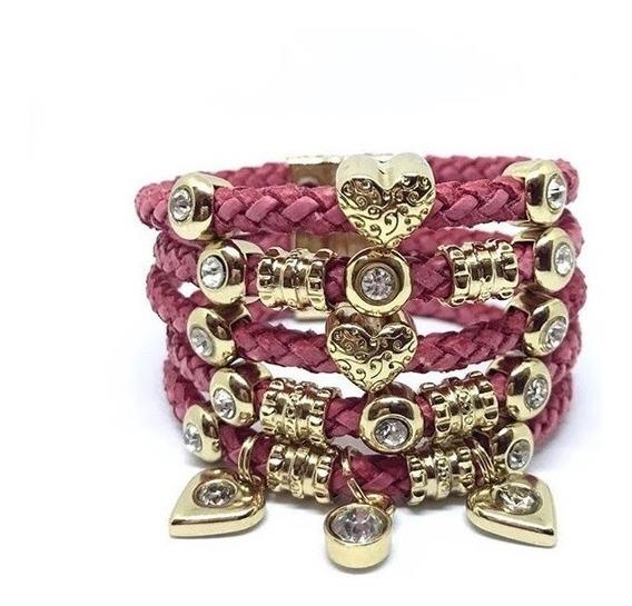 Bracelete De Couro Feminino Com Pingente Coração
