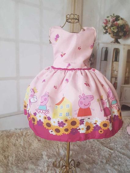 Vestido Peppa Infantil Super Luxo Sem Manga Cinto Pérolas