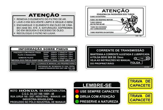 Adesivo De Advertência Cg Titan - Honda Titan - Frete Grátis