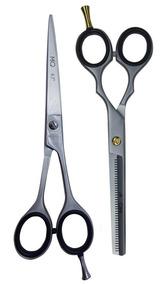 Kit Tesoura Prata Fosco Laser 6,5 + Desfiadeira 6.0 Mq Hair
