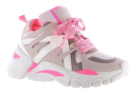 Tênis Feminino Sneaker Chunky Verde Rosa Neon Zatz Damannu