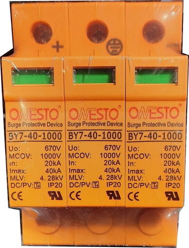 Imagen 1 de 4 de Protector Descargas Dc 3 Polos 1000v 40ka Marca Onesto