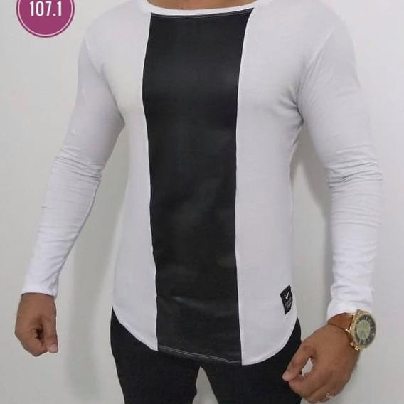 Kit 2 Camisas Manga Longa Masculina Fashion Long Line Oversi