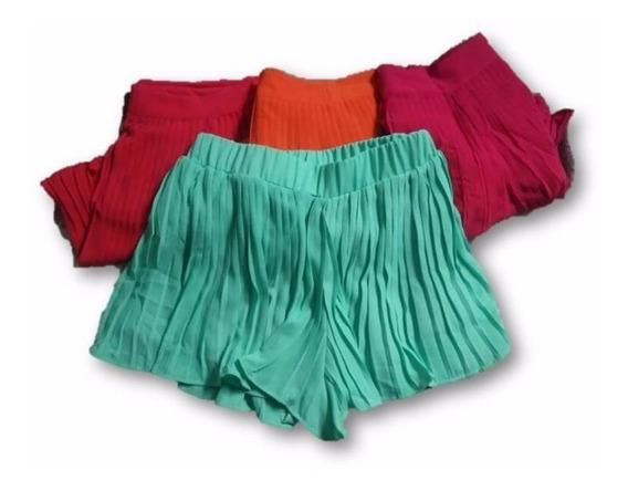 Shorts Saia Curto Plissado Em Chiffon Moda Feminina Verão