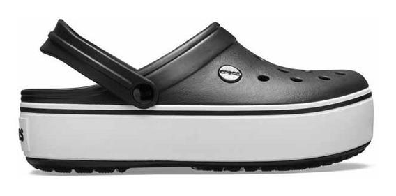 Sandalia Crocs Dama Crocband Platform Clog Negro/blanco