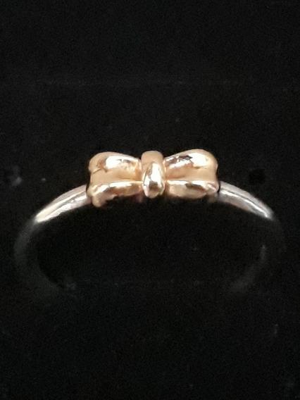 Aro 17 (54) Pandora Prata E Ouro 14k Maciço Noivado Aliança