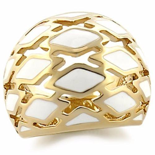 Anel Branco Folheado A Ouro 18k Luxo