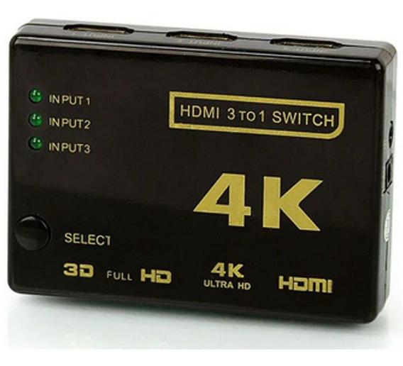 Mini Hub Switch Chaveador Seletor Hdmi Controle 3x1 Full Hd