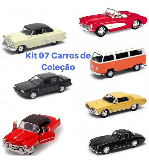 Kit 7 Carrinhos Coleção Santana Cadillac Pontiac Fusca Ferro