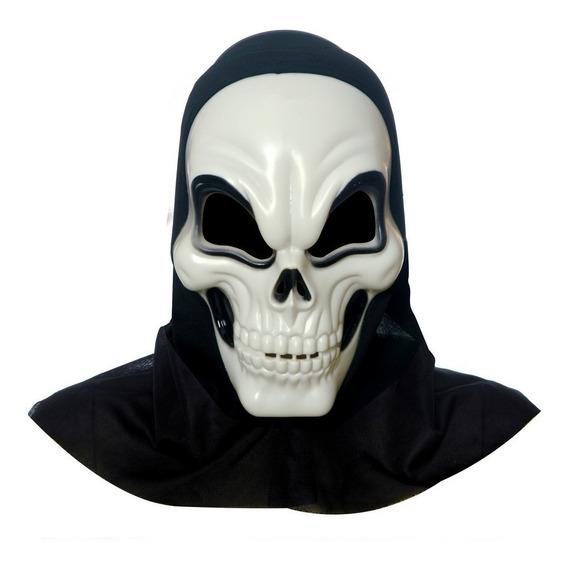 Máscara De Terror Caveira Branca Acessório Carnaval Fantas