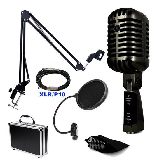 Microfone Arcano Vintage + Cabo + Braço +pop Filter + Outros