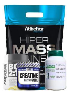 Hipercalórico 3kg + Dilatex 152 Cáps + Bcaa Em Pó + Creatina
