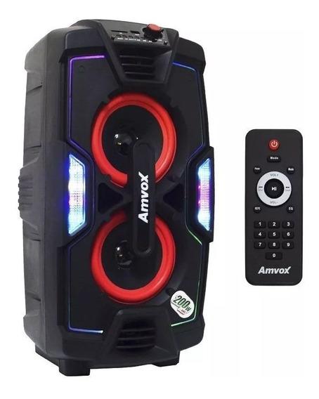 Caixa De Som Amplificada Amvox Aca 200 Turbo Bluetooth Usb