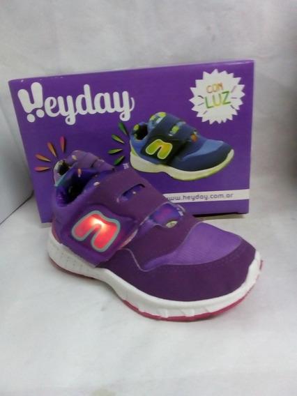 Zapatillas Hey Day Violeta Con Luces 24 Al 34