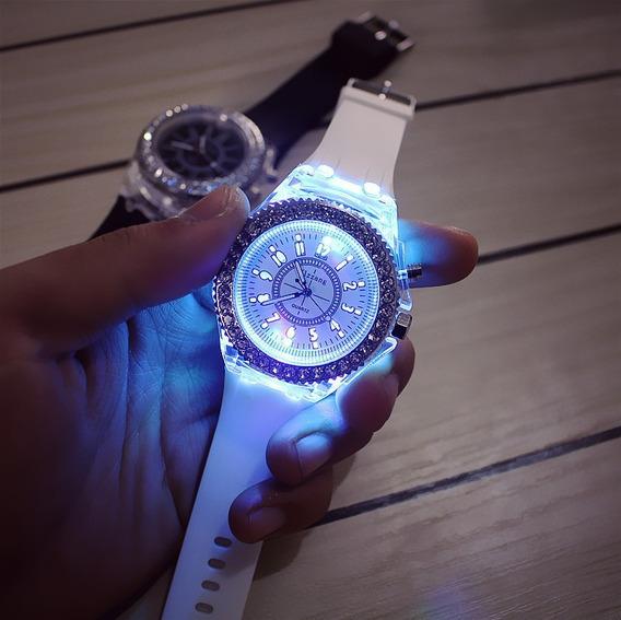 Relógio Feminino Led Brilhante Analógico Branco