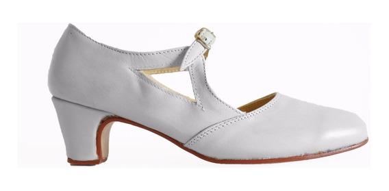 Zapato Español, Folcklore, Flamenco En Cuero Blanco
