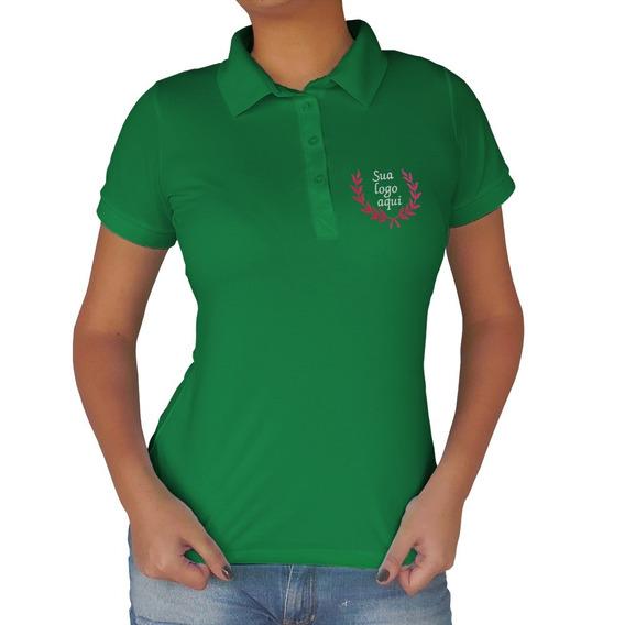 Camisa Gola Polo Feminina Piquet Com Bordado Personalizado